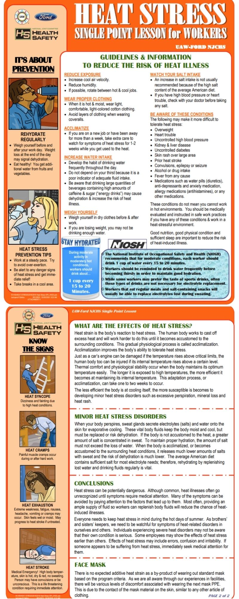 UAW Ford Heat Stress Infographic